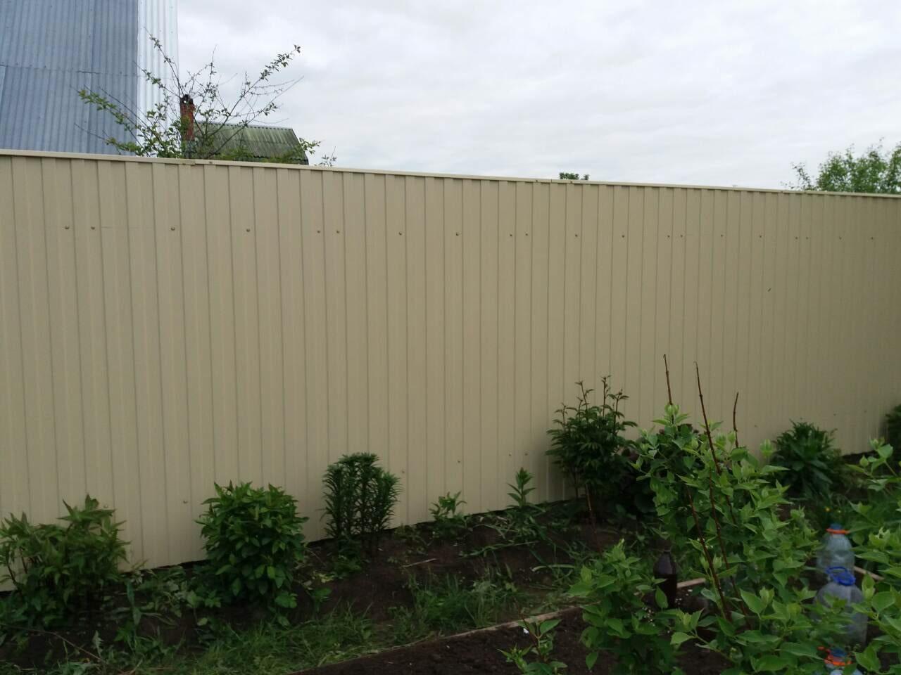 Забор из профнастила слоновая кость