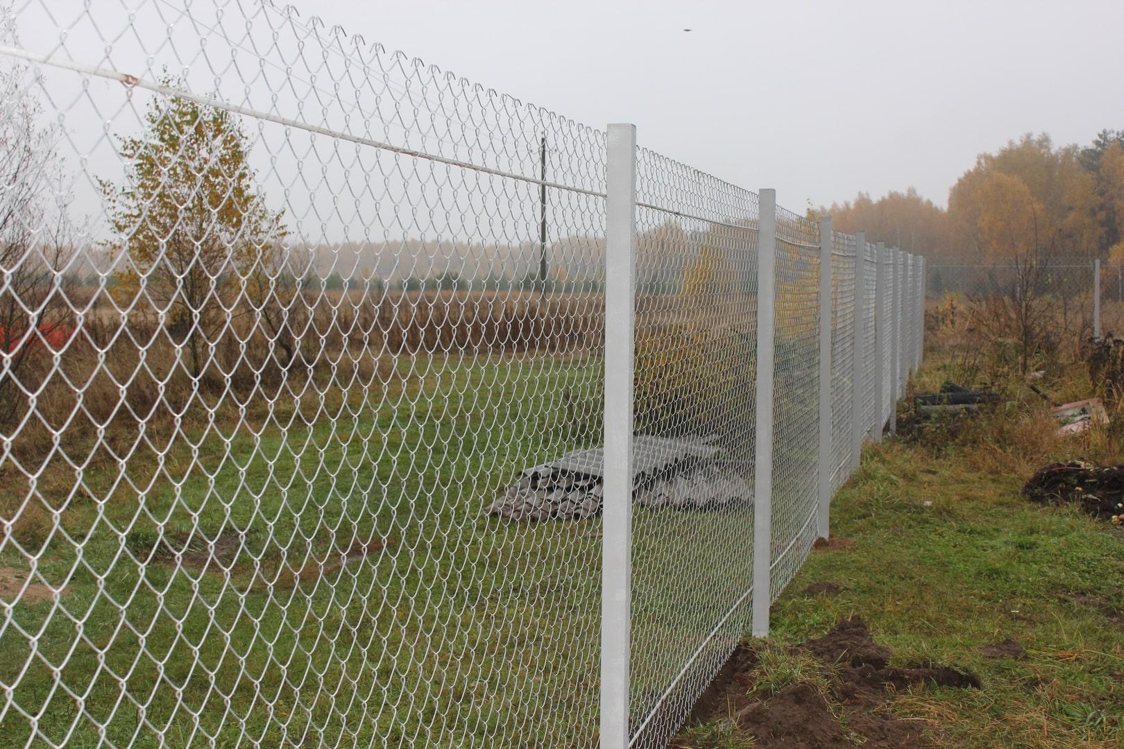 Забор из сетки рабицы на протяжках белый