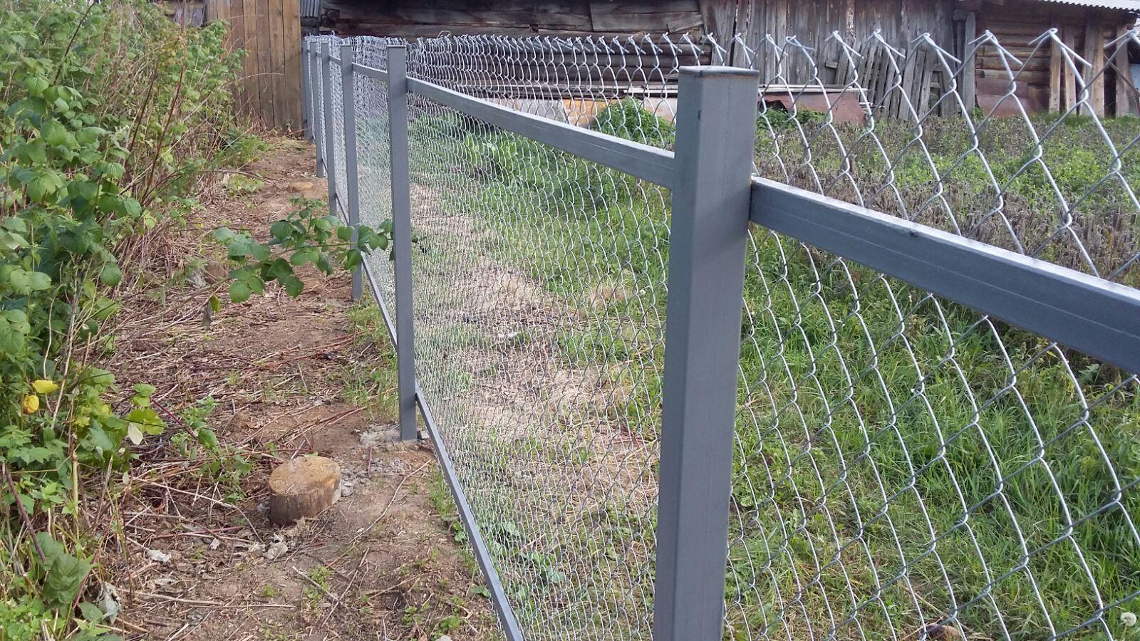 Забор из сетки рабицы на лагах